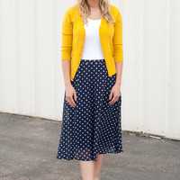 Navy Polka Dot Chiffon Skirt