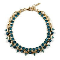 Future Ecstasy Crystal Necklace W/ Spikes & Spheres - Gold / Jade / Teal / Indicolite