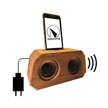 Wood Analogue Speaker Charging Station I Hand Carved I Best Boyfriend Gift Ideas I  Decorative Office Dock for iPhone 6, 6s, 7, 8