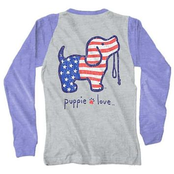 Vintage USA Pup Long Sleeve Tee in Blue by Puppie Love