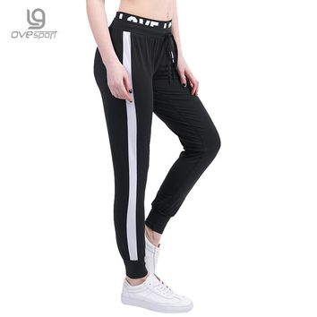 New Fashion Women Sporting Pants Fitness Casual Workout Women Trousers Side Stripe Harem Pants High Waist Letter Patchwork Pants