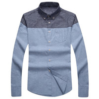 Two Tone Casual Long Sleeve Button Down