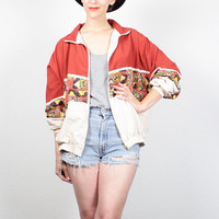 Vintage 1980s Bomber Jacket Orange Red Cream Tribal Print 1980s Windbreaker Jacket Hipster Sporty Track Jacket Wind Breaker L XL Extra Large