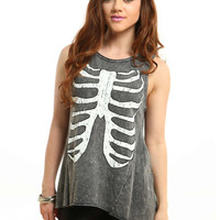 White Rib Cage Muscle Tee