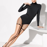 Wolford Linnea Tights From The Tight Spot.com - sheer tights with black stripes and interwoven ribbon and bow garter