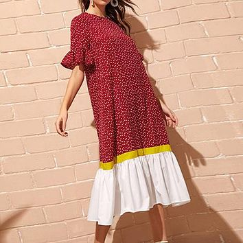 Red Bell Sleeve Colorblock Polka Dot Boho Long Dress Women Summer Drop Waist Dress Ruffle Hem Loose Straight Abaya Dresses