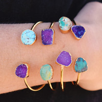 Druzy and Turquoise Cuff: Iris