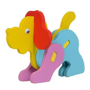 DIY Cartoon 3D Animal Wooden Puzzle Baby Early Childhood Toy ( Dog )
