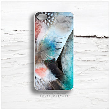 iPhone 4 and 4S case Feather Texture in Teal and Coral T20