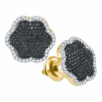 10kt Yellow Gold Women's Round Black Color Enhanced Diamond Cluster Earrings 1-2 Cttw - FREE Shipping (US/CAN)