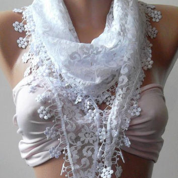 White  / Elegance  Shawl / Scarf with Lacy Edge-