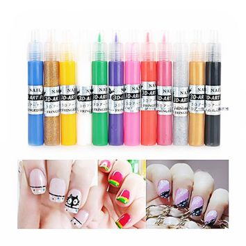 12 Colors UV Gel Acrylic Tips 3D Nail Art DIY Painting Polish Pen Set