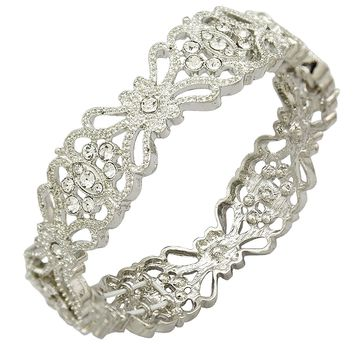 Q&Q Fashion Art Deco 1920s Accessory Flapper Costume Flower Austria Crystal Bridal Cuff Bracelet Bangle