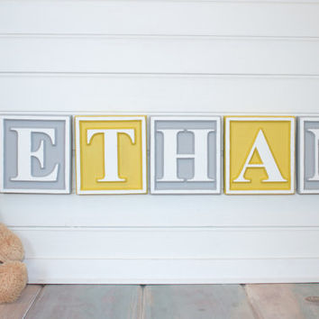 Personalized Letter Blocks Nursery Name Wooden Alphabet Custom Baby Plaque Sign