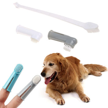 Pet Finger Toothbrush Dog Brush Breath Double Head Teeth Care Dog Cat Cleaning Brushes For Dog's Pet Supplies