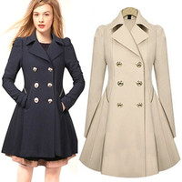 New Women Winter Warm Lapel Long Slim Trench Parka Coat Jacket Overcoat Outwear