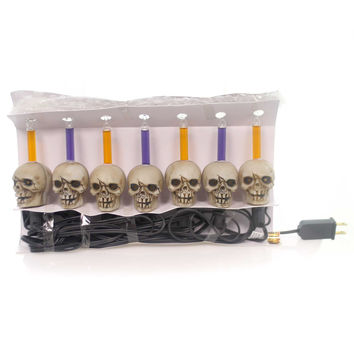 Halloween 7 Skull Bubble Light Set Halloween Decor