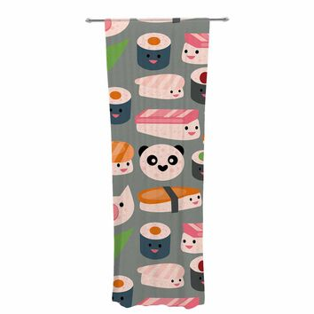 "bruxamagica ""Kawaii Sushi Gray"" Gray Multicolor Food Pattern Digital Illustration Decorative Sheer Curtain"