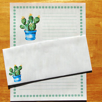 Cactus Watercolor Plant - Lined Stationery Set With Envelopes - Snail Mail - Pen Pal Letters - Stationary Writing Paper
