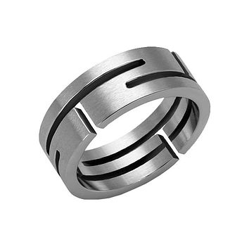 Steel Maze - Men's Stainless Steel Cut Out Band