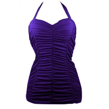 Sexy Women Halter Draped Backless Pad One Piece Dress Swimwear Swimsuit