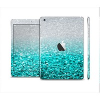 The Aqua Blue & Silver Glimmer Fade Full Body Skin Set for the Apple iPad Mini 2