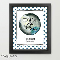 I Love You To The Moon & Back - Personalized Nursery Childrens 11x14 Art Print