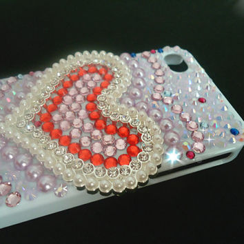 Iphone 4 and Iphone 4s case.sweet heart and jewelry.white case.DIY princess case.