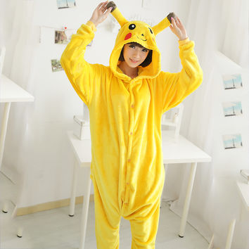 Yellow Pokemon Adult Kids Onesuits Warm Flannel Pajamas Sets Hooded Nightwear Family Fitted Cute Cartoon Funny Costumes Pajamas