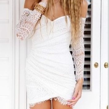 Casual Lace Embroidered Long Sleeve Strapless Mini Dress