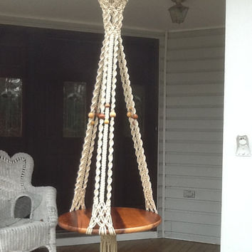Hanging Table, Macrame in off white, ecru, cream, 4 mm Polyolefin, unique, stylish design flower hanger or wedding cake table