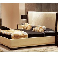Leather double bed with high headboard SAVOY Anthology Collection by Ulivi Salotti