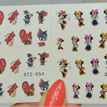 2 sheets Tom and Jerry Nail Art, Minnie Nails, Minnie Mouse, Nail Design, 3d Nails, Cartoon Nails, Nail Decorations, Minnie Mouse, Nail