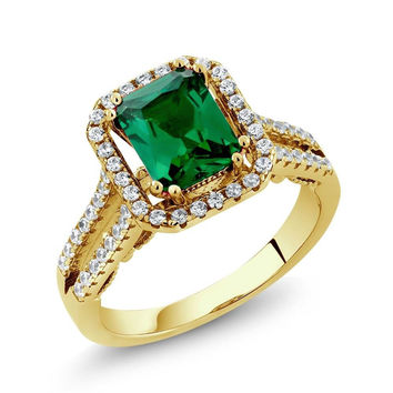 2.78 Ct Octagon Green Simulated Emerald 18K Yellow Gold Plated Silver Ring