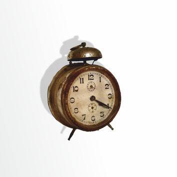 vintage alarm clock 20s antique retro clock metal clock mid century alarm clock german alarm clock