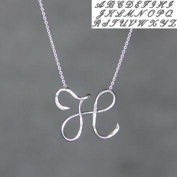 Personalized intial monogram textured silver pendant necklace Bridesmaids gifts Free US Shipping handmade Anni Designs