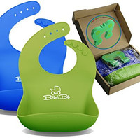 Premium Silicone Baby Bibs, Soft & Waterproof by Bébé Earth® - GREEN & BLUE For Boys & Girls | With WIDE Food Catcher That Always Keeps Its Shape | Wipe Clean, Fast Drying | FREE Door Slam Guard