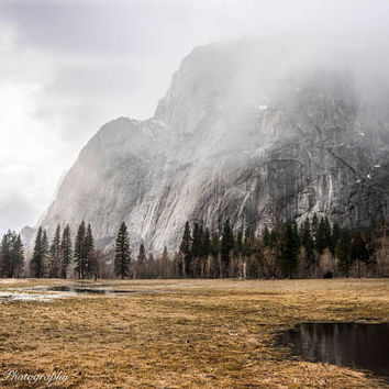 Winter Meadow Yosemite Wall Art Print -- Fine Art landscape photography, Stormy, California, Forest, Home Decor, HeatherRobersonPhoto