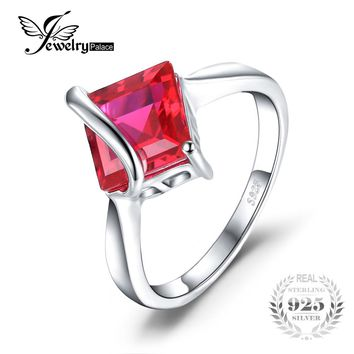 JewelryPalace Classic 3.32 ct Square Created Ruby Engagement Rings For Women Gift Solid 925 Sterling Silver Charms Brand Jewelry
