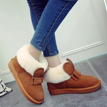 New Women Brown Round Toe Flat Bow Casual Ankle Boots