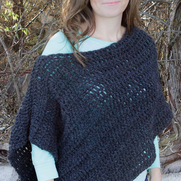 Crochet Grey Shawl, Wool Shawl, Adult, Young Adult, Children, Crochet, Wrap, Winter, Fall, Poncho