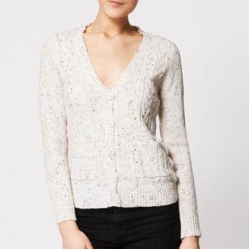 Cable Mix Knit Button Up Cardigan