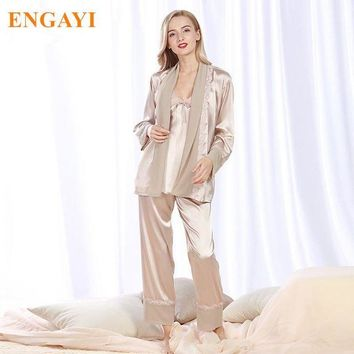 LMFCI7 2017 New Women Silk Satin Pajamas Pyjama Sets Pijamas Nightgown Sleepwear Sexy Robes Bathrobe Longue Femme Night Gown STZ305