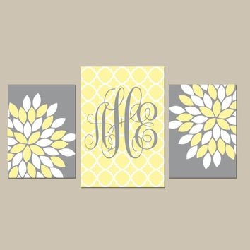Monogram Wall Art, Baby Girl Nursery CANVAS or Prints Wall Art, Girl Bedroom Pictures, Yellow Gray Nursery Decor  Set of 3 Above Crib Decor