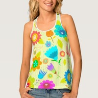 Bright Yellow Floral All Over Print Tank Top