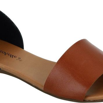 BRIGIT OPEN TOE FLATS-TAN