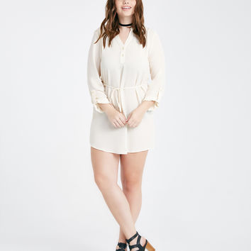 Plus Size Henley Dress With Crochet Yoke | Wet Seal Plus