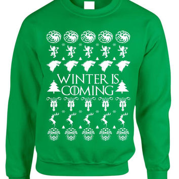 Adult Crewneck Winter Is Coming Ugly Christmas Sweater Holiday