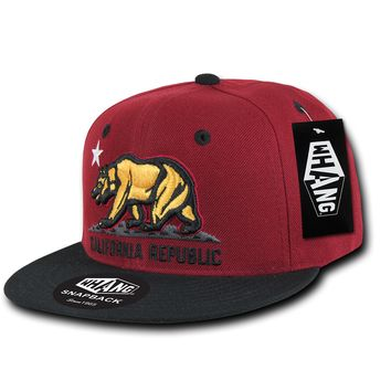 California Republic State Bear Flag Snapback Hat SF Style Red Gold