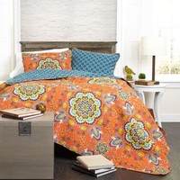 Breklyn Boho Bohemian Mandala Orange 3 Piece Quilt Bedding SET